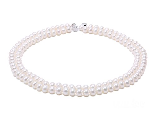 Necklace Pearl Baroque Strands Double (JYX Double-Row 8mm Flatly-Round Freshwater Cultured Pearl Necklace 16