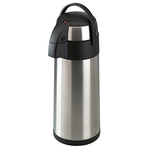axentia Airpot en Plata, Pump Tetera de Acero Inoxidable, Jarra termica con Doble Pared,–Termo con Bomba y Cuerpo irrompible, Pump de Jarra de cafe con asa, Volumen Aprox 5L
