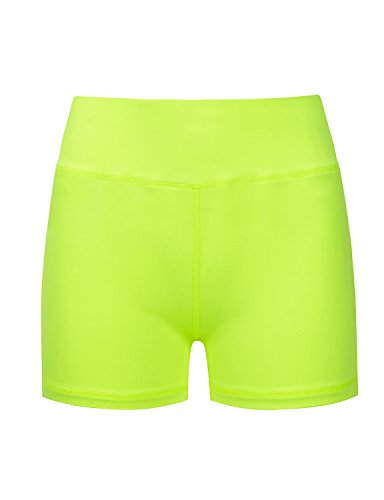 REGNA X Women's stretch solid cotton activewear sports bermuda Active Shorts,Short_neon Yellow,XX-Large