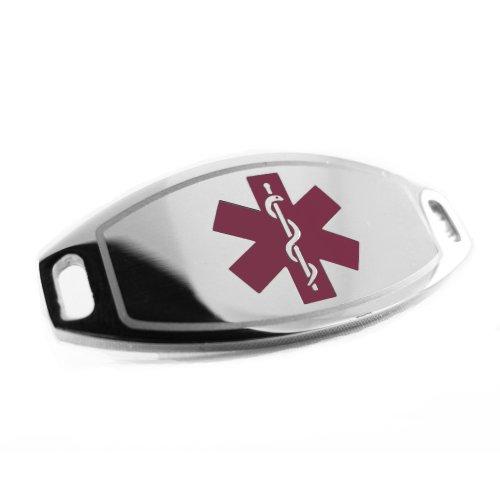 My Identity Doctor - Custom Engraved Medical ID Tag 316L Steel Medium - Purple by My Identity Doctor