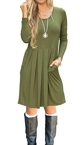 Women's Pleated Loose Swing Casual T-Shirt Dress with Pockets Knee Length