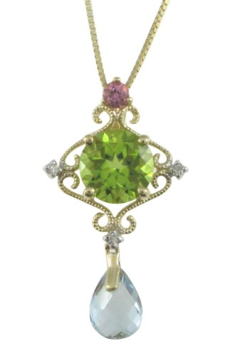 10k Yellow Gold Peridot, Pink Tourmaline, Aquamarine Pendant Necklace (7x7mm )