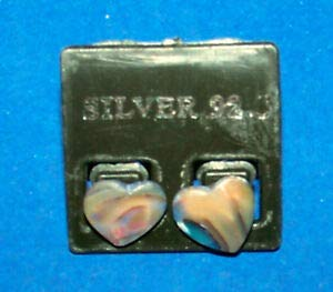 KARPP Genuine PAUA Abalone Heart Earrings New Ear Rings Post - Beach Nautical ()