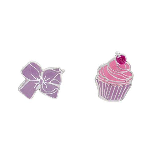 Jojo Siwa Girl's Jewelry Silver Plated Mismatched Cupcake and Bow Stud Earrings