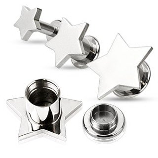 Star Screw Fit Flared Ear Plug (00 Gauge) Large Silver Tone Star Surgical Stainless Steel (316L Surgical Steel) Internally Threaded Flesh Plug Body Piercing (2 Piece) ()
