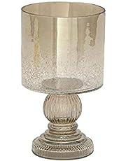 "Deco 79 24626 Glass Hurricane Bronze Candle Holder 6"" D/11 H"