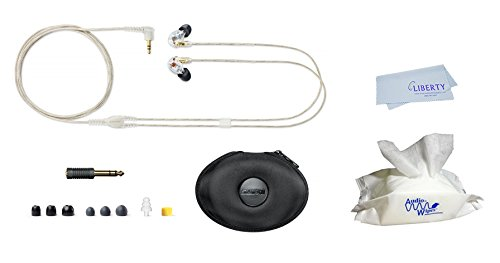 Shure Earphones SE425 - Sound Isolating Clear Earphones include 1 pouch of electronic wipes and Liberty microfiber cloth (CLEAR) by Audiologist choice, Shure, Liberty