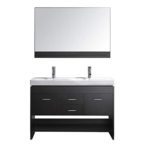 Virtu USA Gloria 48 inch Double Sink Bathroom Vanity Set in Espresso w/ Integrated Square Sink, White Ceramic Countertop, Single Hole Polished Chrome, 1 Mirror - MD-423-C-ES