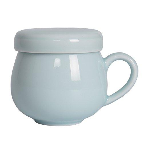 Teacups with Filter Funnel 10-Ounce Ceramic Coffee Mug Porcelain Handmade Celadon(Sky Blue)