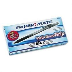 Papermate 88079 Write Bros. Grip Ballpoint Pen, Medium Point, Black Ink, 12 - 12ct boxes
