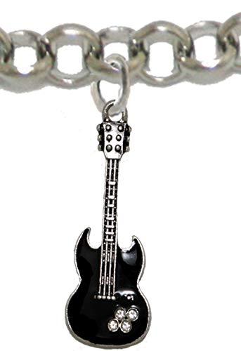 (Cardinali Jewelry Black Guitar On Rollo Chain Adjustable Bracelet, Hypoallergenic Safe-Nickel, Lead and Cadmium Free)