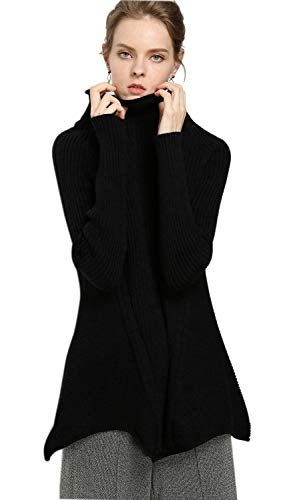 Women's Long Sweater Dresses Tops Cashmere Knitted Turtleneck Long Sleeve Winter Cashmere Wool Pullover(L, Black)