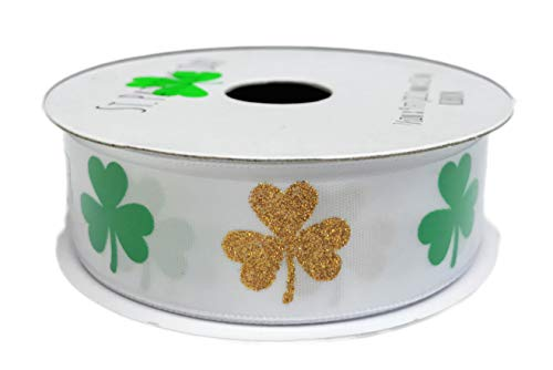 St. Patrick's Day Green and Gold Shamrocks Holiday Gift Crafting Ribbon 7/8
