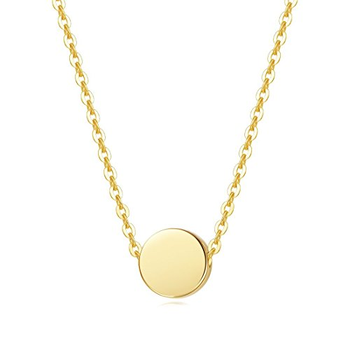 (Carleen Solid 14K Yellow Gold Tiny Dot Round Coin Necklace Pendant Dainty Fine Jewelry for Women Girls, 18