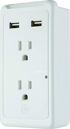 GE Pro USB Surge Protector Wall Tap, Charging Station, 2 USB Ports, 2 Protected Outlets, 3 Prong Outlet, LED Color Charge Indicator, 2.1 A, 450 Joules, UL Listed, White, 36065 -