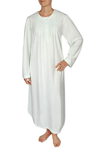 Miss Elaine Women's Long Nightgown - Brushed Honeycomb Knit Material. with Long Sleeves and a Round-Neckline ()