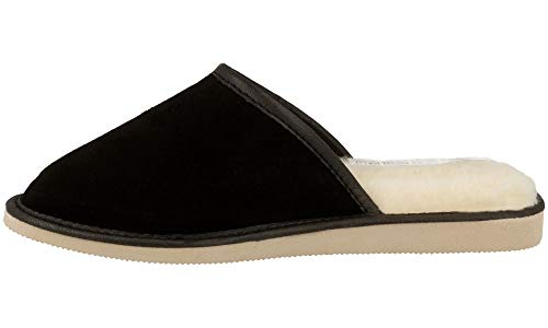 Mujer Lujo Casa Carnero Negro Gamuza Natural 945c Lana Para Con De Piel Zapatillas Pantuflas 5wCn6qI0Ex