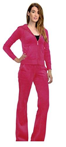 Tabeez Women's Premium Velour 2 Piece Tracksuit Matching Sweatsuit Jogging Set,Small / Medium,Pink