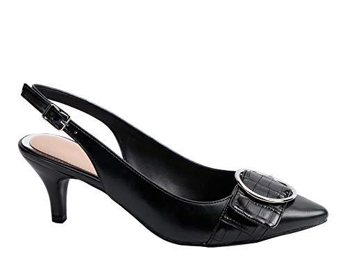 - Greatonu Womens Slingback Dress Pump (8 US, Black with Round Buckle)