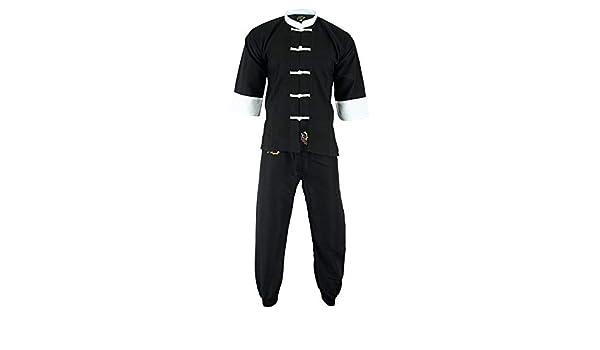 Ni/ños Playwell Elite Kung Fu Microfibra Ultra Ligero Uniforme Todo Negro