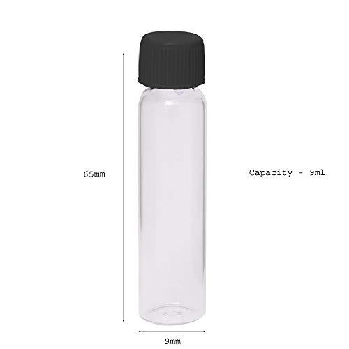 Empty Glass Vials - 9 ml - 2 Dram - Black Color Cap - 48 Units