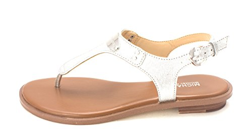 Kors Leather Thongs Michael (Michael Kors Womens Mk Plate Thong Leather Open Toe Casual, Silver, Size 10.0)