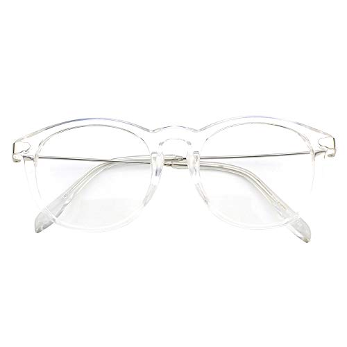 Happy Store CN88 Fashion Keyhole Metal Temple Oval Horn Rimmed Clear Lens - Sunglasses Metal Transparent