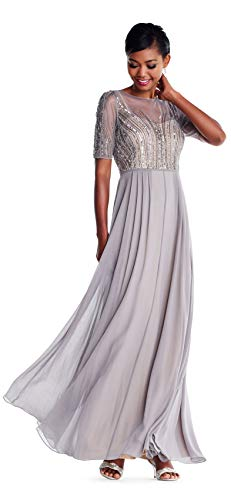 Adrianna Papell Short Sleeve Chiffon Gown Feathered Beaded Bodice, Deep Platinum, 16P (Gown Chiffon Adrianna Papell Beaded)