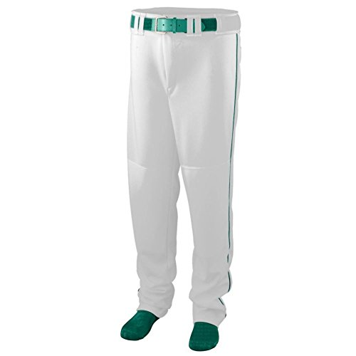 - Augusta Activewear Series Baseball/Softball Pant with Piping - Youth, White/Dark Green, Medium