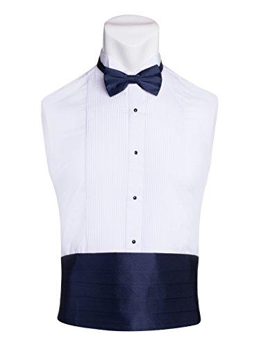 King Formal Wear Men's Premium Cummerbund & Bow Tie Set 100% Silk Cummerbund & Bowtie For Tuxedos & Suits - Many Colors (Navy Blue) ()