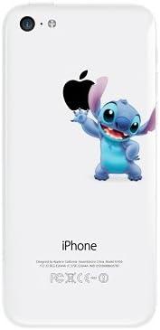 Coque Iphone 5S transparente Stitch qui tient la pomme Apple Etui ...