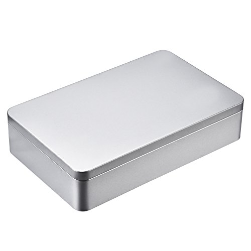 Shappy 8.5 by 5.3 by 1.9 Inch Silver Rectangular Empty Tin Box Containers, Gift, Jewelery and Storage Tin Kit, Home Organizer - Silver Plated Lid