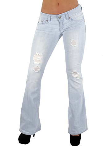 80001(S) - The Sexy Flare Bootleg Ripped Premium Bootcut Women Jeans in Washed Light Blue Size 11