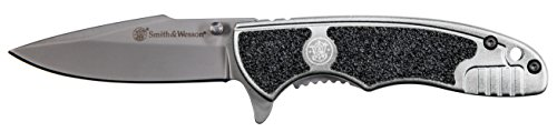 Smith & Wesson SW1100 6.3in S.S. Assisted Opening Knife with 2.75in Drop Point Blade and Aluminum Handle for Outdoor, Tactical, Survival and EDC