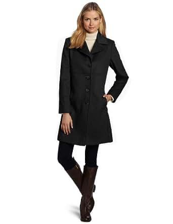 Larry Levine Women's Luxurious Wool Classic Notch Collar Reefer Coat, Charcoal, 2
