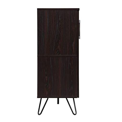 Home Bar Cabinetry Christopher Knight Home Lochner Mid-Century Faux Wood Wine and Bar Cabinet, Black / Walnut Finish home bar cabinetry