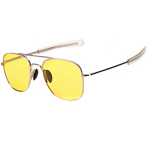 Night Vision Glasses for Driving, HD Yellow Lens Sun glasses Polarized Aviator Sunglasses for Men Women, Anti Glare Square Metal - Yellow Light Shade Glass