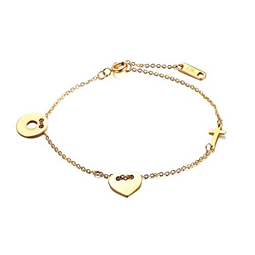 WMAO 14k Gold Plated Double Heart and Heart Cross Bracelet The Best Gift for Valentines Day Wedding