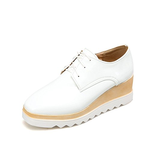 Maybest Womens Fashion Lace Up Platform Wedge Heels PU Oxford Shoes Square Toes ( White 7 B (M) US (Lace Up Platform Saddle Shoe)
