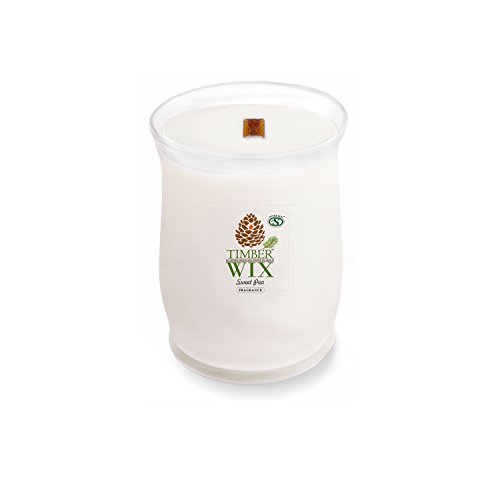- Timber Wix Sweet Pea Wood Wick Soy Candle (14.5 oz. Jar) Made with Premium USA Grown Natural SuperSoy Wax
