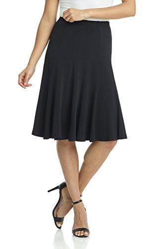 Rekucci Women's Ease into Comfort Flared Knee Length Knit Skirt (Medium,Black) Black Career Skirt