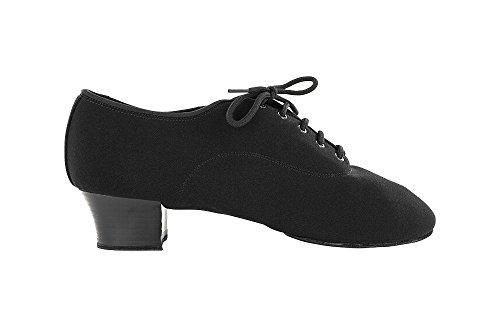 scarpa da ballo professionale in tela nero , tacco 4 cm