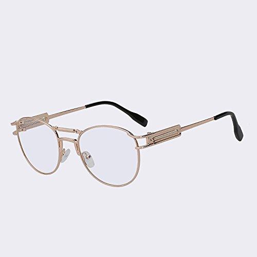 Gafas de Vintage de de Oculos para sol clear latón moda gafas lens Gafas hombre lente w del vigas dobles marrón de Gold alta calidad hombres metálicas TIANLIANG04 W UV400 Steampunk 0AqwPq7