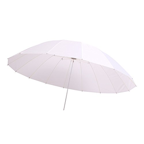 FOTOCREAT 60inch White Diffusion Parabolic Umbrella 16 Fiberglass Rib 7mm Shaft