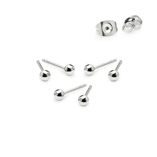 "River Island Jewelry – ""3 Pairs"" Stainless Steel 3mm Tiny Ball Stud Earrings (Island River)"