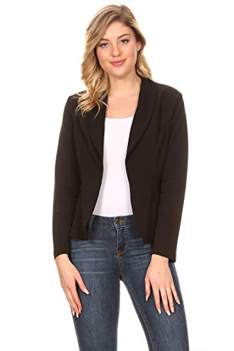 Solid Casual Office Work Long Sleeve Open Front Blazer Jacket/Made in USA Black 2XL