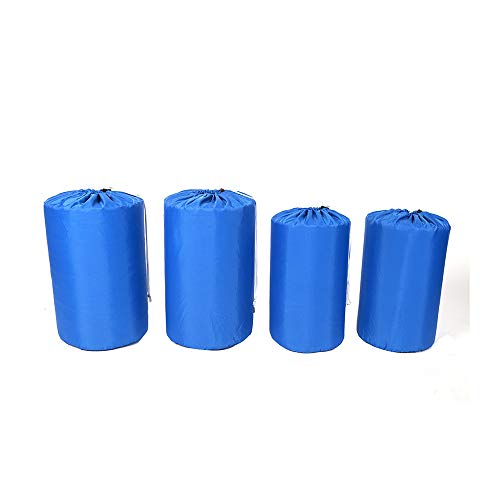 Ezek Ultra-Light Compression 210D Polyester Oxford Durable Stuff Sacks Water-Resistant Drawstring Ditty Storage Sack, Sleeping Bag Clothes for Backpacking Camping Travelling, Blue,1 Set of 4 Pieces.