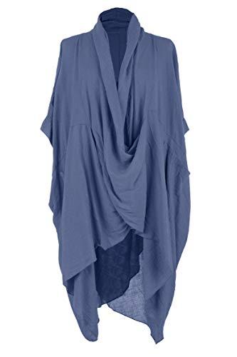 Tunic Top Blue Cornflower Crossover One Size 2 Kaftan Cowl Lagenlook Cotton Womens Texture Ladies Pocket Fq8vTBw