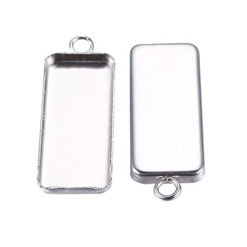 PH PandaHall 50pcs Stainless Steel Pendant Cabochon Settings Rectangle Metal Stamping Tag Charms for Jewelry Making