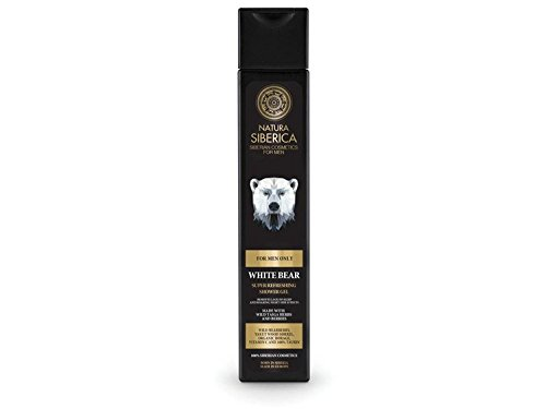 NATURA SIBERICA - Super Refreshing White Bear Men's Shower Gel - Energizing, Moisturizing and Nourishing Body Cleanser - Perfect for Sport - With Wild Bearberry and Taurin - 250 ml